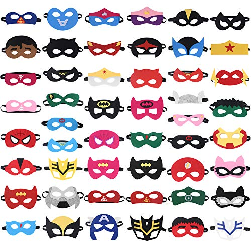 RoterSee Superhero Masks Party Favors for Birthday Party with 50 Different Types (50 pcs)]()