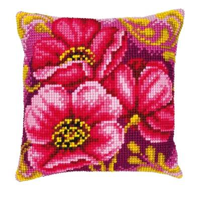 Cojín de punto de cruz de flores rosas 3: Amazon.es: Hogar