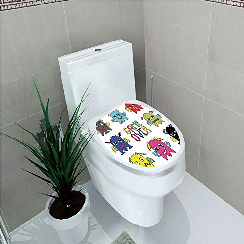 Toilet Custom Sticker,90s,Pixel Robot Emoticons with Game Over Sign Inspired by 90s Computer Games Fun Artprint,Yellow Red,Diversified Design,W12.6