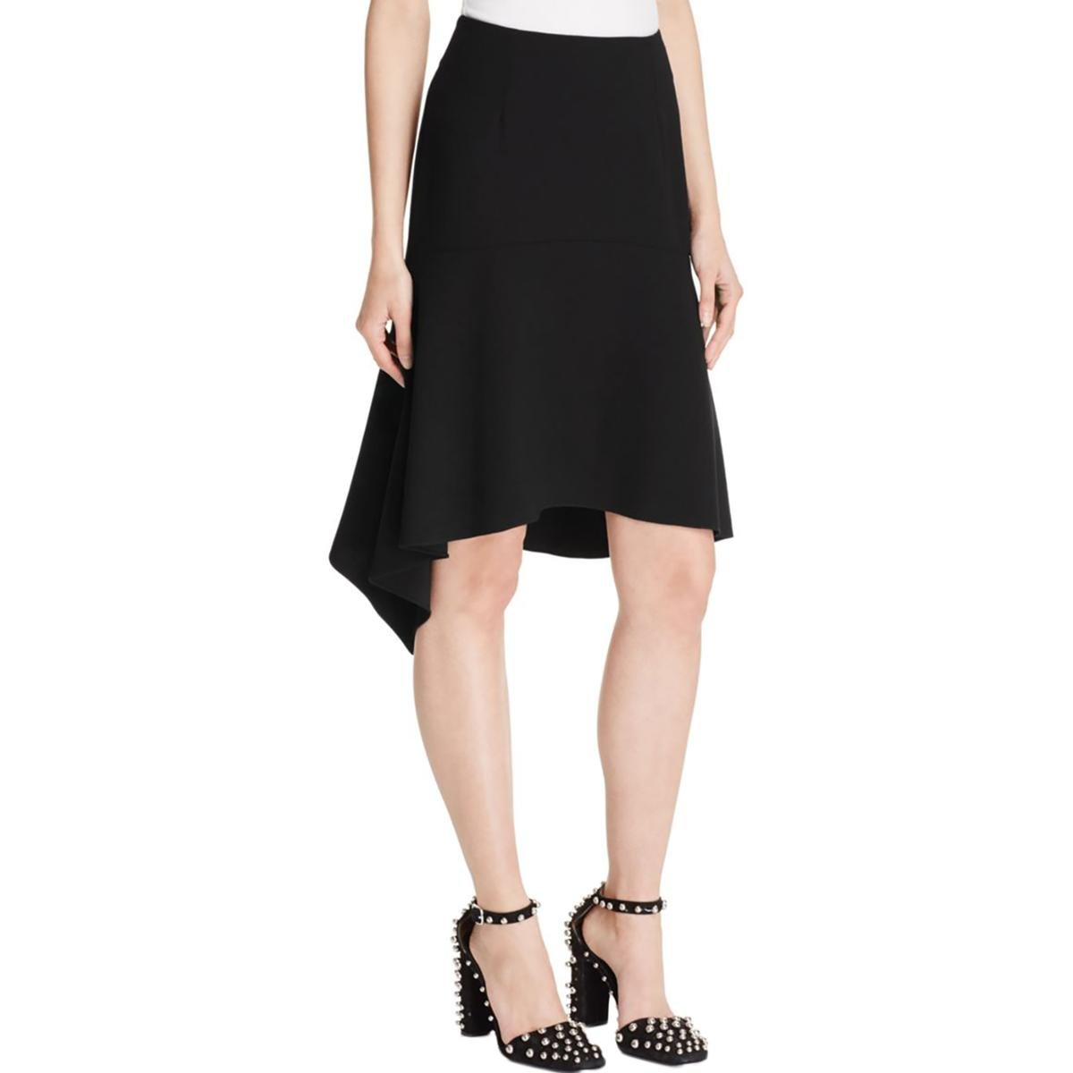 T by Alexander Wang Womens Crepe Drapey Peasant, Boho Skirt Black 8