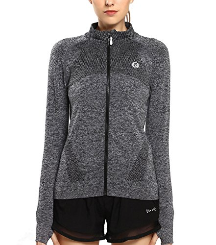 PULI Women's Heather Jaquard Zip-up Stand Collar Hoodie Gray L by PULI