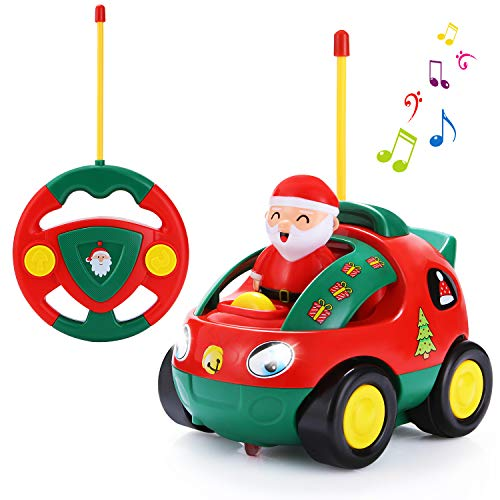 SGILE Remote Control Car for Toddlers, RC Cartoon Radio Race Car Train Toy with Music and Light for Boys Girls Baby Birthday Gift Present