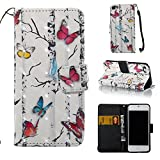 iPod touch 6 Case, iPod Touch 6 Wallet Case,Voanice PU Leather with Kickstand Card Holder Slot Flip Cover &Hand Strap Shockproof for iPod Touch 6 th/iPod Touch 5th Generation &Stylus-White Butterfly