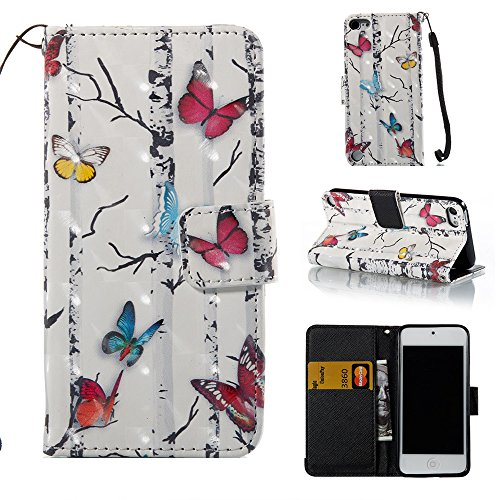 iPod touch 6 Case, iPod Touch 6 Wallet Case,Voanice PU Leather with Kickstand Card Holder Slot Flip Cover &Hand Strap Shockproof for iPod Touch 6 th/iPod Touch 5th Generation &Stylus-White Butterfly ()
