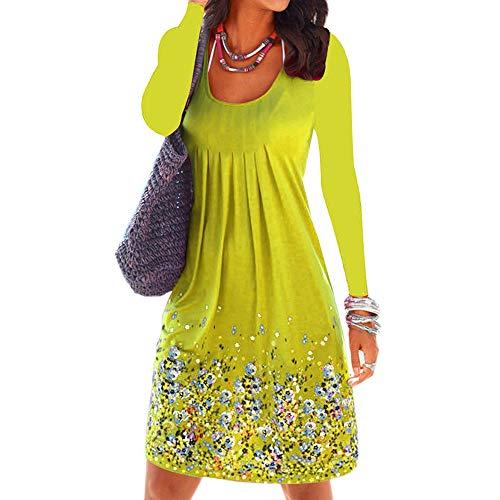 Robe Femmes Genou chic robe LANSKIRT Tunique Longueur Manches Longues Volants Elgante Imprim Manches Robe jaune Casual femme Robe Floral Longue YRqxO