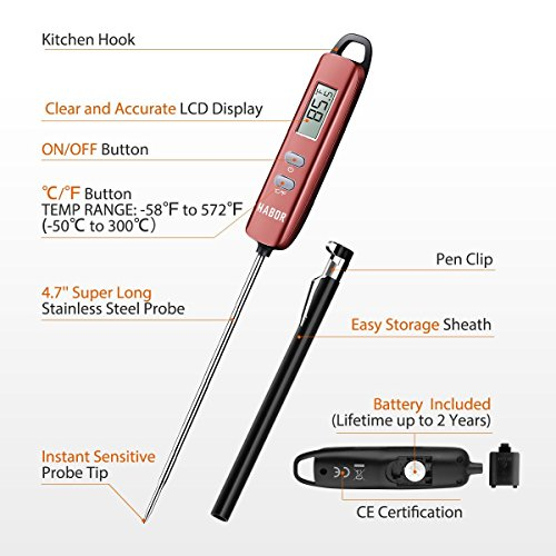 Meat Thermometer, Habor Instant Read Thermometer Cooking Thermometer Candy Thermometer with Super Long Probe for Kitchen Cooking BBQ Grill Smoker Meat Fry Food Milk Yogurt by Habor (Image #3)