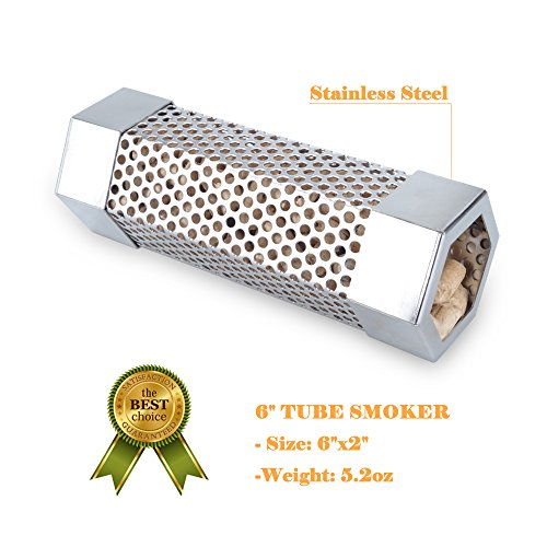 KampFit Pellet Smoker Tube 6'' - Stainless Steel Perforated Wood Pellet Tube Smoker - Perfect for any Electrical, Gas, Charcoal Grills by KampFit (Image #2)