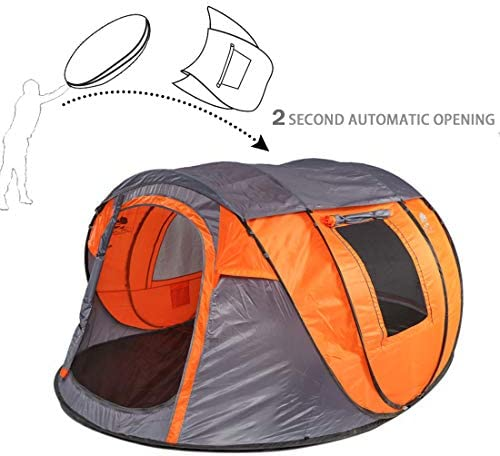 Bravindew Pop Up Tent Instant 3 Second Automatic Opening Waterproof Sun Shelter 4-5 Person Family Tent