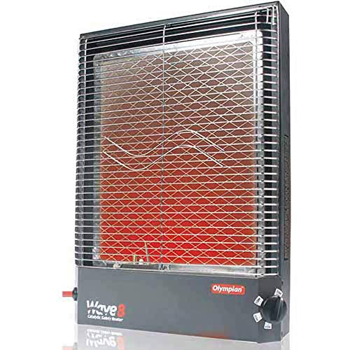 Camco Olympian RV Wave-8 LP Gas Catalytic Safety Heater, Adjustable 4200 to 8000 BTU, Warms 290 Square Feet of Space, Portable and Wall Mountable (Wave Catalytic Heater)