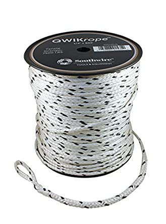 Southwire Spr 146 Qwikrope 12 Strand Single Braided 1 4 Pulling Rope 7 500 Lbs Breaking Strength Ultra Low Stretch Uv And Moisture Resistant 600 Feet White Amazon Com