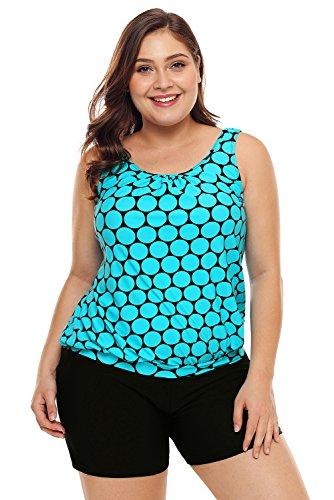 f7c3e73793 FUSENFENG Women's Plus Size Racerback Tankini Set Two Piece Swimwear with  Boyshort (Blue, XXXL