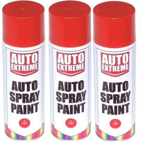 3 x rojo brillante Spray de pintura aerosol puede Auto extremos ...