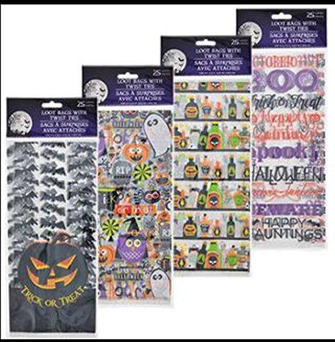 (25-ct. packs of 5x11 Halloween cello loot bags (1 packs random)