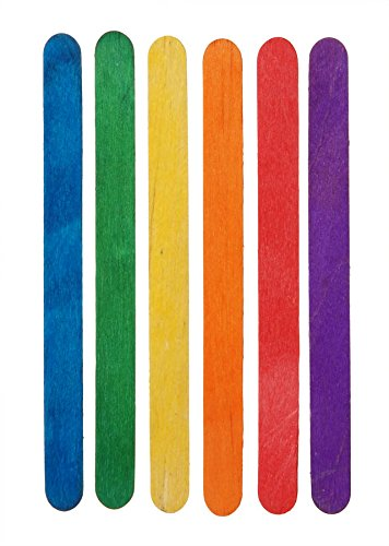 "Darice Wood Craft Sticks – Multi-Colored – Perfect for Craft Projects – Vibrant Fun Colors – Sturdy Wood Sticks Used for Kids Projects, Classrooms, Home and More – 4 1/2"" -"