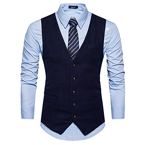 Mens Slimming Tuxedo Vest Formal Business Vest Suit Outdoor Vest Jacket Navy - Brothers Suit Blues