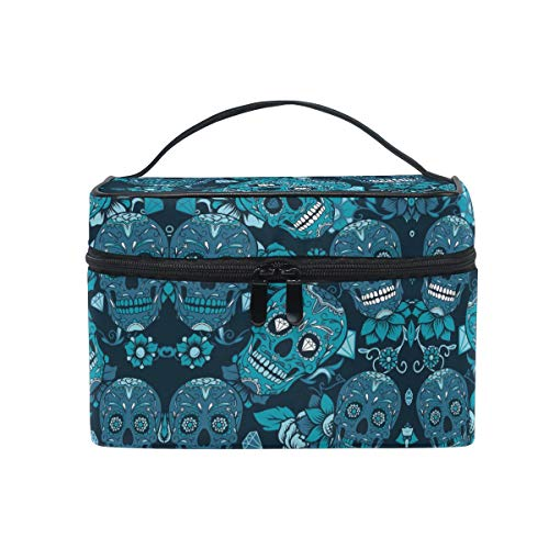 Rose Sugar Skull Women Makeup Bag Travel Cosmetic Bags Toiletry Train Case Beauty Pouch Organizer]()