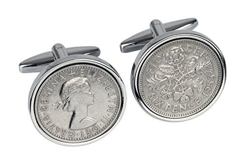 1955 English Sixpence Cufflinks- Genuine England Coin Cufflinks- 100% Satisfaction- In Gift (Genuine Cufflinks)