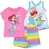 Disney Little Mermaid Ariel Toddler Girls' 3pc T-Shirt Tank Top & Shorts Set 2T