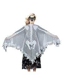 Halloween Skeleton Poncho, Party Costume,Women's Skull Cape and Bat Eye Mask