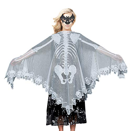 Halloween Lace Skeleton Poncho,Party Costume,Women's Skull Bones Cape 57x57in and Bat Eye Mask for Thanksgiving(2 Pack) White -