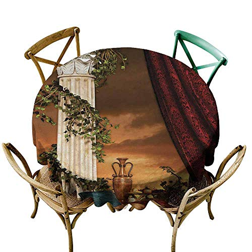(Stain Resistant Round Tablecloth Gothic Greek Style Scene Climber Pillow Fruits Vine and Red Curtain Ancient Goddess Sunset Modern Minimalist 70 INCH Multicolor)
