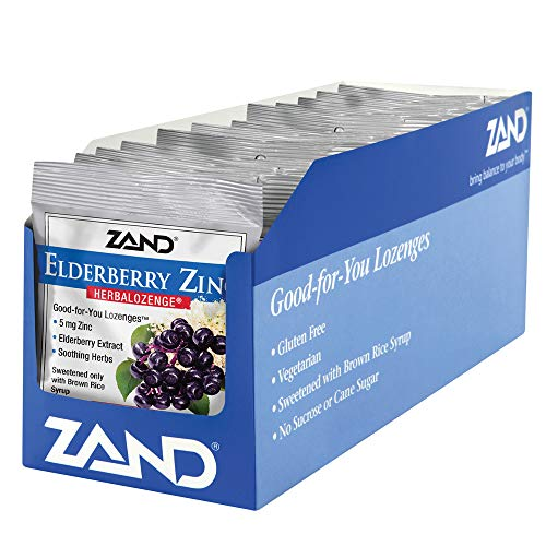 Rose Hip Lozenges - ZAND Herbalozenge Lozenges, Elderberry Zinc, 15 lozenge bag,  12 Count