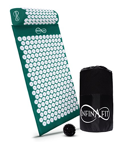 Mat Neck (Infinafit Acupressure Set | Naturally Quell Head, Neck & Back Pain | Relieve Stress & Sleep Better | Large Mat, Supportive Pillow and Spiky Foot Massage Ball included in a Convenient Carry Bag)