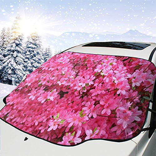 (HONGSH Car Windshield Snow Covers Sunshade Universal Pink Azalea Flowers Ice Defense No Scratches UV and Sun Protection Fit Most Cars)