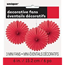 "6"" Mini Red Tissue Paper Fan Decorations, 3ct"
