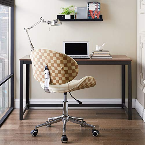 Volans Home Office Chair, Modern Bentwood and Leather Upholstery Armless Swivel Desk Chair with Casters Wheels, Adjustable Height Task Chair, Creamy White