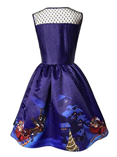 hasta gran de de Vestido de fiesta la partido de V mangas vestido sin Vestido de Scothen de cóctel tamaño de rodilla fiesta tamaño sin Rockabilly Vestido con mangas en Azul Vestido cuello fiesta dq8BXw5x0