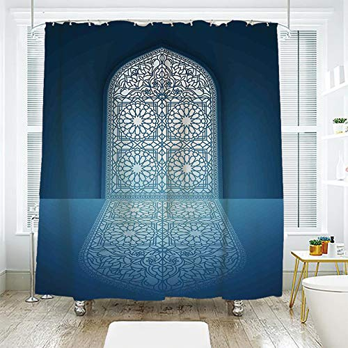 scocici DIY Bathroom Curtain Personality Privacy Convenience,Arabian,Doors of Antique Mosque Grace Faith Theme Islamic Ethnic Illustration Print,White Turquoise,78.7