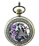 Infinite U Ink Painting of Violet Roman Numerals Steel Mechanical Pocket Watch
