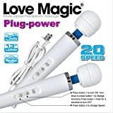 Love Magic 20 Speed Plug-in Full Body Massage Wand Powerful Motor Therapeutic - Electric Handheld Massager for Muscle Aches and Sports Recovery Back Neck and Shoulder Massage - Wand Massager - White