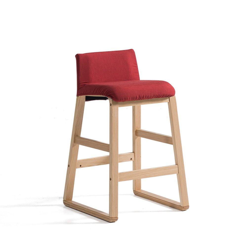 XIAOYAN モダンなシンプルなオフィスチェアファッションバースツールダイニングチェアソリッドウッド+高級ファブリックフロントベンチクラシックスタイル家庭用ハイスツール2つのスタイル (色 : 赤, サイズ さいず : A) B07DQC1CBQ A|赤 赤 A