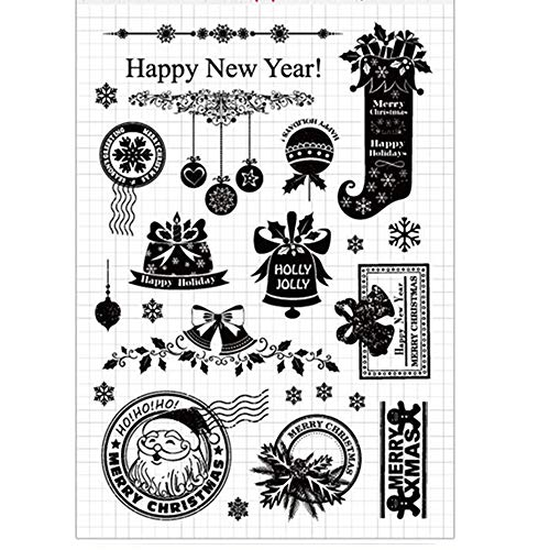 olly Jolly Snowflakes Decors Balls Bells Rubber Clear Stamp/Seal Scrapbook/Photo Decorative Card Making Clear Stamp ()