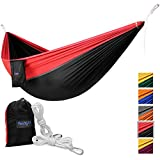 Yes4All Lightweight Double Camping Hammock with Carry Bag – Nylon Parachute Hammock / Lightweight Portable Hammock for Camping, Hiking (Black/Red)