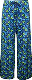 Youth Sizes Volleyball Love Blue Gold Novelty Print Pants Unisex Sizes, Large