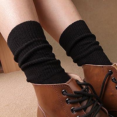 Maivasyy 3 paires de chaussettes Femme Chaussettes Coton Femmes pieux Tube ligne épaisse Cute retro style ethnique Long Tube Chaussettes, couleur uni - Noir