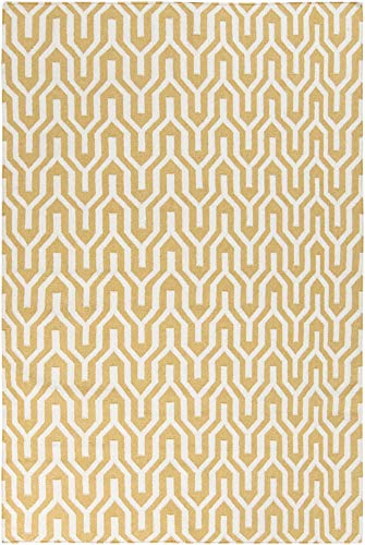 (Drewryville Flatweave Moroccan Trellis 2' x 3' Rectangle Transitional 100% Wool Ivory/Wheat Area Rug)