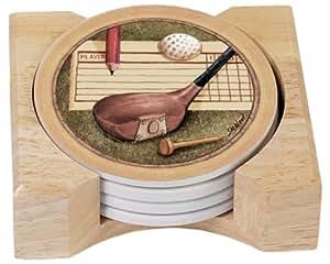 CounterArt Nostalgic Golf Absorbent Coasters in Wooden Holder, Set of 4