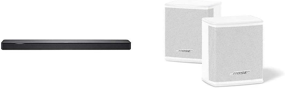 Bose - Barra de sonido 500, con Alexa inegrada, Bluetooth y Wifi, negro + Surround Speakers, blanco