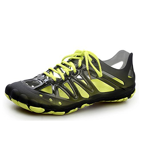 Leader Show Men's Stylish Aqua Lace Up Water Shoes Comfort Summer Beach Sandal (9.5, Black)