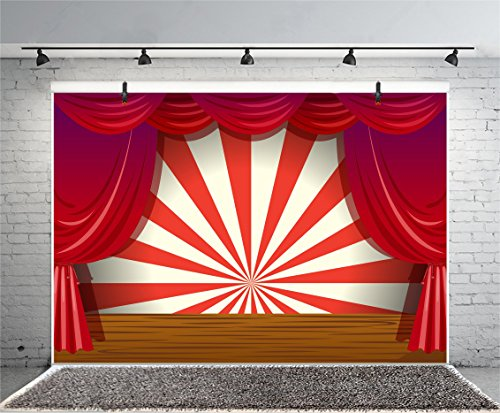 LFEEY 7x5ft Red Curtain Stage Backdrop Photo Booth Props Cartoon Wood Floor White and Red Stripes Photo Background for Birthday, Party, Events Decorations by LFEEY (Image #3)