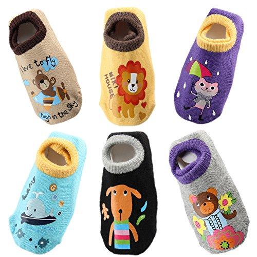 October Elf Unisex Baby Socks Anti Slip Cotton Socks Pack of 6 (S(0-1Year), C) by October Elf