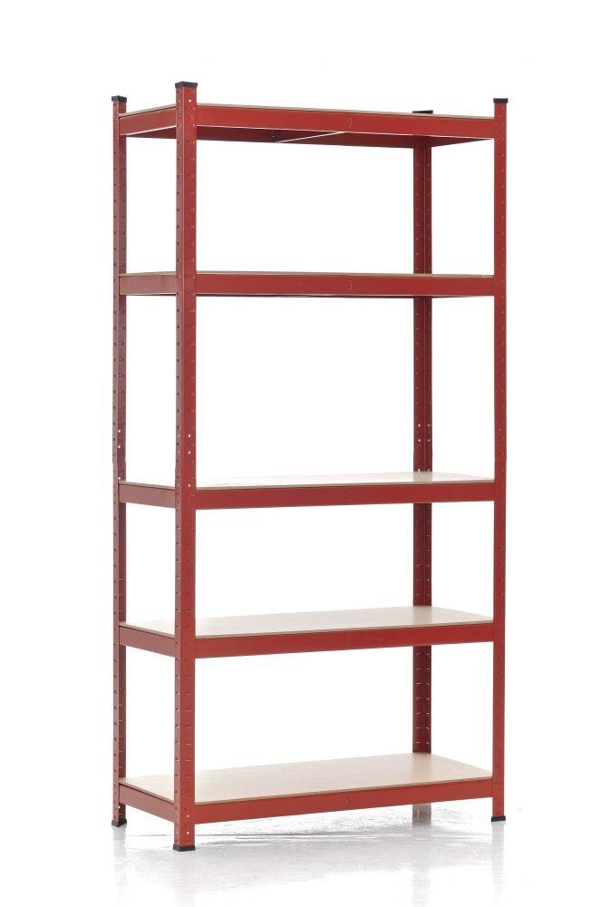 Scaffale in metallo CP345 ripiani in MDF ~ 40x90x200cm rosso Mendler