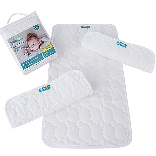 "Changing Pad liners -100% Waterproof, Baby Skin Friendly, Absorbant Cotton Quilted, Baby Diaper Changing Cover Mat, 3 Count, Larger in 27"" x 14"", White from Biloban"