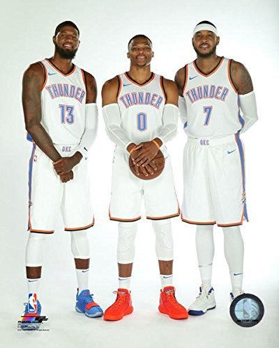 Paul George, Russell Westbrook, & Carmelo Anthony NBA Photo (Size: 8