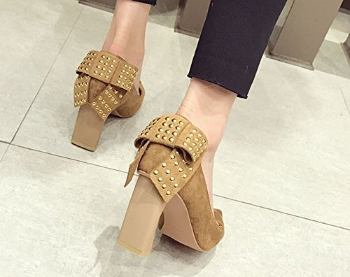 MDRW Shoes Leisure Shoes With Commuter Bow Camel Single The Suede Lady Spring 8Cm Elegant Pointed Shoes Work 36 Rivet Thick Shoes Occupation High Heeled qtPtwrTf