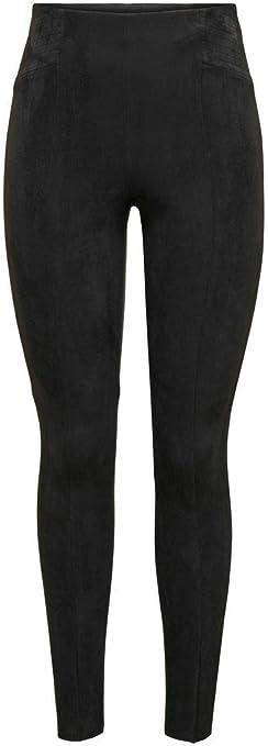 Roman Originals Women Faux Suede Stretch Trousers Ladies Full Length Suedette Faux Leather Long Smart Casual Party Evening Comfortable Comfy Trousers Pants